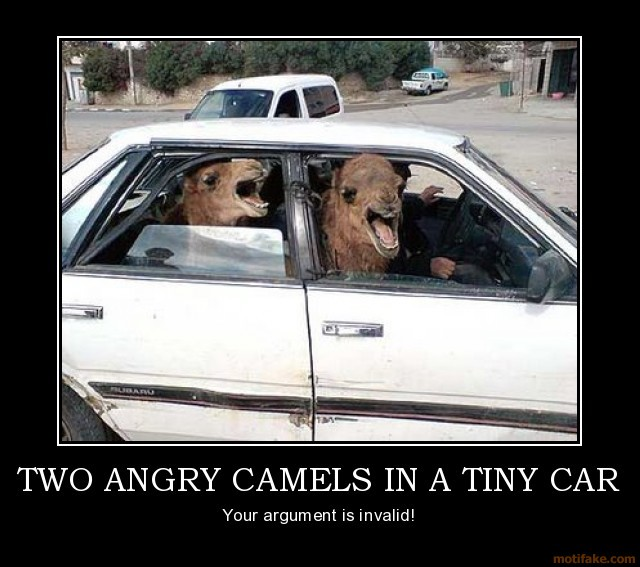Angry Camels in the Car Motivational Poster