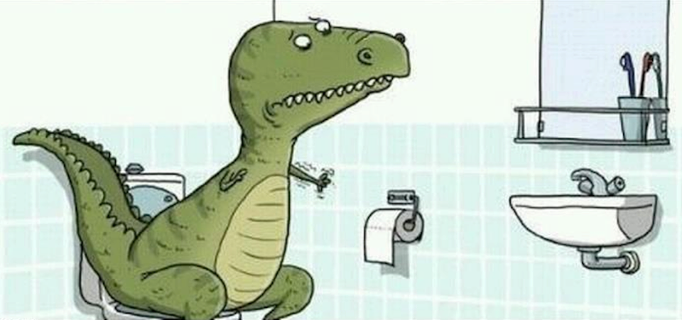T-Rex Reaching for Toilet Paper