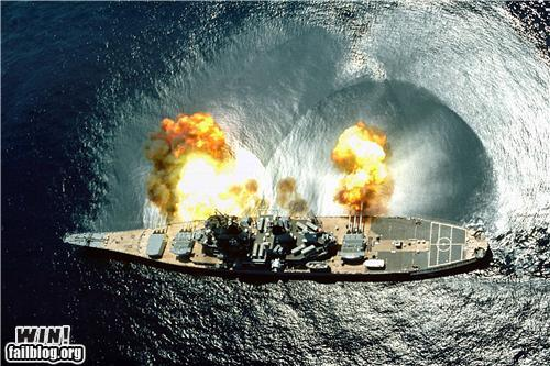 Ship Guns Firing