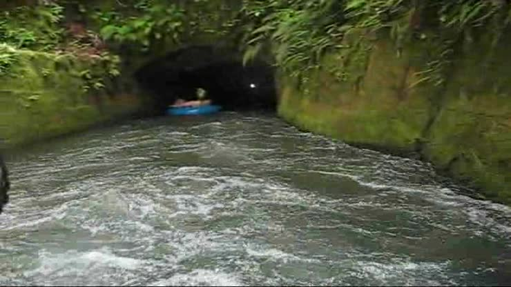 Tubing through the irrigation channel in Hawaii.<br>The water is frigid!