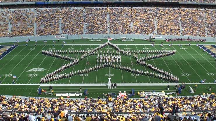 WVU Marching Band pays an excellent tribute to the Armed Services